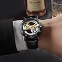 halpa Koristevalot-Miesten mekaaninen Watch Automaattinen itsevetävä Aito nahka Musta / Ruskea 30 m Hollow Engraving Itsestään valaiseva pimeässä Analoginen Muoti Luuranko - Kulta Musta