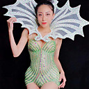 זול אקזוטי Dancewear-אקזוטי Dancewear חליפת גוף עם אבני חן מזויפות / האנפו בגדי ריקוד נשים הצגה ספנדקס קריסטלים / אבנים נוצצות ללא שרוולים / סרבל תינוקותבגד גוף