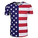 זול מלאכה ותפירה-מבוגרים בגדי ריקוד גברים קוספליי דגל אמריקאי תחפושות קוספליי חולצת טי עבור Halloween לבוש יומיומי כותנה יום העצמאות טי שירט