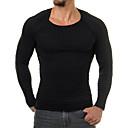 זול מכנסים וחולצות להייקינג-XL / XXL / XXXL שחור צווארון עגול פוליאסטר, סוודר רזה שרוול ארוך אחיד בגדי ריקוד גברים