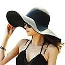 זול הד פיס למסיבות-קיץ סתיו צהוב פוקסיה כחול בהיר כובע קש כובע שמש אחיד קש בסיסי בגדי ריקוד נשים