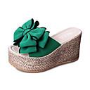 hesapli Kadın Sandaletleri-Kadın's Sandaletler Dolgu Topuk Fiyonk Süet Günlük Yaz Bej / Yeşil / Pembe