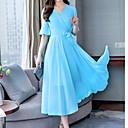 저렴한 인모 레이스 가발-여자의 미디 쉬폰 드레스 크루 넥 쉬폰 와인 블러쉬 핑크 화이트 스 미르 리터 xl