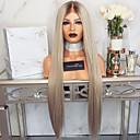 hesapli Sentetik Dantel Peruklar-Gerçek Saç Örme Peruklar Kinky Düz Stil Orta kısım Ön Dantel Peruk Gümüş Gümüş Sentetik Saç 26 inç Kadın's Kadın Gümüş Peruk Uzun Doğal Peruk
