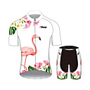 cheap Cycling Jerseys-21Grams Women's Short Sleeve Cycling Jersey with Shorts White Flamingo Floral Botanical Bike Clothing Suit Breathable Moisture Wicking Quick Dry Sports 100% Polyester Mountain Bike MTB Road Bike