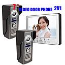 olcso Videó kaputelefonok-815m21 ultra-vékony 7 hüvelykes vezetékes videó ajtócsengő hd villa egy beltéri egység két kültéri egység videó kaputelefon kültéri egység éjjellátó eső kinyit funkció