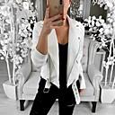 hesapli Moda Küpeler-Kadın's Günlük Temel Normal Kurtki skórzane, Solid Gömlek Yaka Uzun Kollu Polyester Beyaz / Siyah