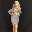 זול אקזוטי Dancewear-אקזוטי Dancewear האנפו / לבוש מועדונים בגדי ריקוד נשים הצגה ספנדקס פרנזים שרוול ארוך טבעי חצאיות / מעיל / חזייה