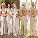 זול שמלות שושבינה-בתולת ים \ חצוצרה עם תכשיטים עד הריצפה נצנצים שמלה לשושבינה  עם סלסולים על ידי JUDY&JULIA