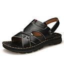 hesapli Erkek Sandaletleri-Erkek Ayakkabı Tüylü İlkbahar yaz İngiliz Sandaletler Günlük / Dış mekan için Oyuklu Siyah / Kahverengi