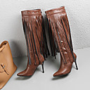 זול מגפי נשים-בגדי ריקוד נשים נעליים בסגנון הבריטי PU סתיו חורף בריטי / מִעוּטָנוּת מגפיים עקב סטילטו מגפיים עד הברך פרנזים שחור / חום / מסיבה וערב