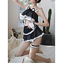 povoljno Seksi kostimi-Mačka Žene Izrezati Sexy Seksi spavaćica / kineska haljina Noćno rublje Jednobojni Crn L XL XXL / S naramenicama