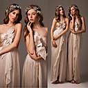 זול שמלות שושבינה-גזרת A כתפיה אחת עד הריצפה שיפון ערב רישמי שמלה עם קפלים על ידי JUDY&JULIA