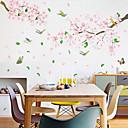 halpa Seinätarrat-vaaleanpunaiset kukat ja linnut seinä tarrat - 3d seinä tarroja kukka / kasvitieteellinen / maisema opiskelu huone / toimisto / ruokailuhuone / keittiö