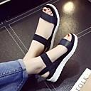 hesapli Kadın Sandaletleri-Kadın's Sandaletler Dolgu Topuk Burnu Açık Süet Günlük Yürüyüş İlkbahar yaz / Sonbahar Kış Siyah / Leopar / Beyaz