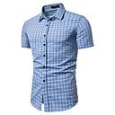 זול בגדי ריצה-משובץ / משובץ דמקה צווארון קלאסי וינטאג' / בסיסי עבודה כותנה, חולצה - בגדי ריקוד גברים דפוס כחול בהיר