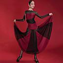 povoljno Odjeća za latino plesove-Latino ples Haljine Žene Seksi blagdanski kostimi Spandex / Mrežica Nabori / Kombinacija materijala Dugih rukava Haljina