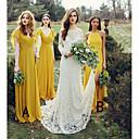 זול שמלות שושבינה-צווארון V / קולר עד הריצפה שיפון שמלה לשושבינה  עם שסע קדמי / סלסולים / קפלים על ידי JUDY&JULIA