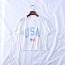 זול מלאכה ותפירה-מבוגרים בגדי ריקוד נשים קוספליי דגל אמריקאי תחפושות קוספליי חולצת טי עבור Halloween לבוש יומיומי כותנה יום העצמאות טי שירט