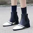 זול מגפי נשים-בגדי ריקוד נשים נעליים בסגנון הבריטי PU סתיו חורף וינטאג' / בריטי מגפיים עקב עבה בוהן עגולה מגפיים באורך אמצע - חצי שוק ניטים זהב / לבן / מסיבה וערב