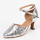 זול נעלי עקב לנשים-בגדי ריקוד נשים נעלי ריקוד סינטטיים נעליים מודרניות Paillette עקבים עקב קובני מותאם אישית כסף / הצגה