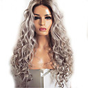 povoljno Kostimi za odrasle-Sintetičke perike Tijelo Wave Kardashian Stil Srednji dio Capless Perika Siva Sintentička kosa 60~65 inch Žene Novi Dolazak Tamno siva Perika Jako dugo