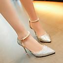 hesapli Kadın Sandaletleri-Kadın's Sandaletler Stiletto Topuk Kapalı Burun Payet PU Günlük İlkbahar yaz Siyah / Altın / Gümüş