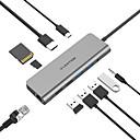 저렴한 USB 허브&스위치-cb-tp-c69heacr usb 3.0 유형 c / usb 3.0 유형 b / sd 카드 / tf 카드 / rj45 / usb 2.0 유형 c usb 허브 10 포트 지원 전원 배달 기능 / 카드 판독기 / led 표시기 / 고속