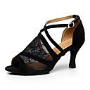 hesapli Latin Dans Ayakkabıları-Kadın's Dantel Latin Dans Ayakkabıları Dantel Topuklular Kıvrımlı Topuk Kişiselleştirilmiş Siyah