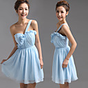זול שמלות שושבינה-גזרת A כתפיה אחת קצר \ מיני שיפון מסיבת קוקטייל שמלה עם תד נשפך על ידי JUDY&JULIA