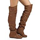 זול מגפי נשים-בגדי ריקוד נשים מגפיים שטוח בוהן עגולה PU מגפיים באורך אמצע - חצי שוק וינטאג' / בריטי סתיו חורף אפור / חום / חאקי