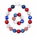 זול תיקי ערב וקלאצ'ים-בגדי ריקוד נשים שרשרת פנינים דגל אמריקאי דגל אקרילי אדום וכחול 36+5 cm שרשראות תכשיטים 1pc עבור מתנה יומי פֶסטִיבָל