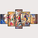 זול הדפסים-דפוס הדפסי בד מגולגל - מופשט בוטני קלסי מודרני חמישה פנלים הדפסים אמנותיים