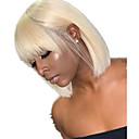 billige Blondeparykker med menneskehår-Ekte hår Blonde Forside Parykk Bobfrisyre stil Brasiliansk hår Rett Blond Parykk 130% 150% 180% Hair Tetthet Dame Dame Kort Blondeparykker med menneskehår Clytie