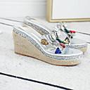 hesapli Kadın Sandaletleri-Kadın's Sandaletler Platform Yuvarlak Uçlu Taşlı PU Yaz Altın / Gümüş