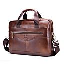 hesapli Erkek Çocuk Çantaları-Erkek Fermuar Sığır Derisi İş çantası Tek Renk Siyah / Koyu Kahverengi / Sonbahar Kış
