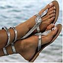 hesapli Kadın Sandaletleri-Kadın's Sandaletler Düz Taban Yuvarlak Uçlu PU Yaz Altın / Gümüş