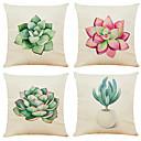 povoljno Jastučnice-set od 4 sukulenti kaktus posteljina kvadratna ukrasna baciti jastučići kauč jastuk pokriva 18x18