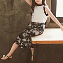 hesapli Çanta Setleri-Çocuklar Toddler Genç Kız Actif Temel Çiçekli Desen Bağcık Kolsuz Kısa Kısa Pamuklu Kıyafet Seti Beyaz