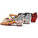 povoljno Cipele za latino plesove-Djevojčice Plesne cipele Saten Cipele za latino plesove Svjetlucave šljokice / Kopča / Kristalni detalji Štikle Debela peta Crn / Braon / Crvena