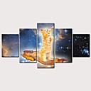 hesapli Tablolar-Boyama Haddelenmiş Kanvas Tablolar - Hayvanlar Klasik Modern Beş Panelli Sanatsal Baskılar