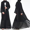 זול לבוש מסורתי ותרבותי-לבוש מסורתי ותרבותי Abaya בגדי ריקוד נשים לבוש יומיומי פוליאסטר מפרק מפוצל שרוול ארוך עבאיה