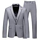 halpa Miesten bleiserit ja puvut-Miesten Suits, Yhtenäinen Lovikäänne Polyesteri Harmaa US40 / UK40 / EU48 / US42 / UK42 / EU50 / US44 / UK44 / EU52