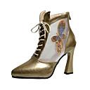 hesapli Kadın Botları-Kadın's Çizmeler Kıvrımlı Topuk Şifon / PU Sonbahar / İlkbahar yaz Siyah / Altın