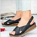 hesapli Kadın Sandaletleri-Kadın's Sandaletler Düz Taban Yuvarlak Uçlu PU Yaz Siyah / Sarı / Kırmzı