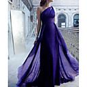 זול שמלות שושבינה-בתולת ים \ חצוצרה כתפיה אחת שובל סוויפ \ בראש שיפון שמלה לשושבינה  עם סלסולים על ידי LAN TING Express / גב פתוח