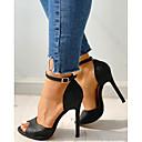 hesapli Kadın Sandaletleri-Kadın's Sandaletler Stiletto Topuk Burnu Açık PU İş Yaz Siyah / Beyaz