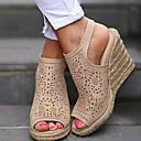 hesapli Kadın Sandaletleri-Kadın's Sandaletler Creepers Burnu Açık Toka PU Yaz Bej