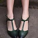 hesapli Kadın Babetleri-Kadın's Düz Ayakkabılar Düz Taban Sivri Uçlu Toka PU Yaz Yeşil / Badem