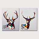 hesapli Hayvan Resimleri-Hang-Boyalı Yağlıboya Resim El-Boyalı - Hayvanlar Pop Art Modern Iç çerçeve dahil